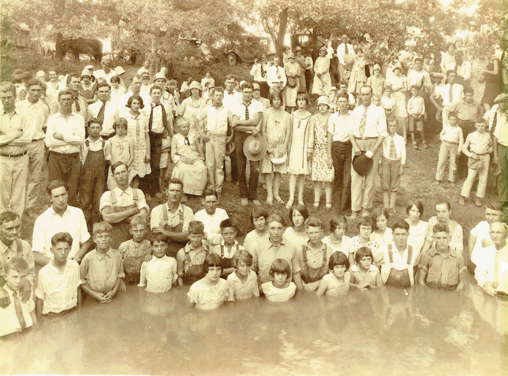 Custer City Baptist Church baptisms in 1929 near Calisburg, TX